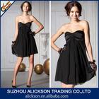 2014 Hot Sale Ruffle Sweetheart Short Black Chiffon Dress Cocktail Dress Black Pictures