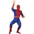 Adulto spiderman nero uomo ragno costume super eroe outfit halloween festa in maschera qamc- 2073