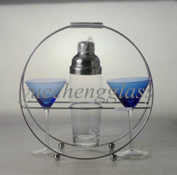 New designed glass cocktail shaker with cocktail wine glass