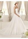 Beautiful Strapless Sleeveless Appliqued Tull Sweep Train A Line Sex Bridal Wedding Dress