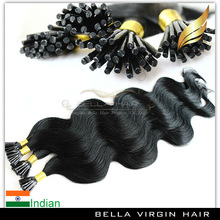 100% Unprocessed Indian human hair Italian keratin/tip/pre-bonded hair extension