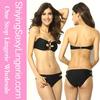 Black Bandeau Crisscross-strap Detail open hot sexy girl photo Bikini
