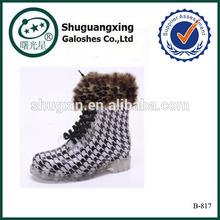 women rain shoes soft rubber rain shoes warm boots shoes|B-817
