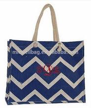 Personalized Large Navy Chevron Jute Shopping Tote Bag