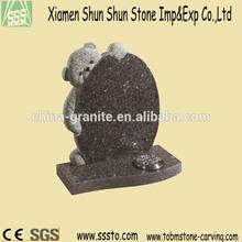 Silver Pearl Granite Teddy Bear Headstone