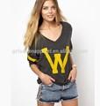 Feminino camiseta vestuário big w impressão, tops casuais camisa de t