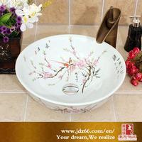 Deft design fancy design hand-painted elegant shape chinese porcelain sink for bathroom