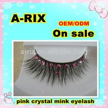 2: pink color crystal real mink strip false eyelash