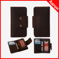 For Apple iPhone 5G first-layer cow leather stand case