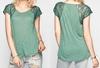 Latest Fashion Design fashion Ladies Tops 2014 new Plain Lace Sleeve