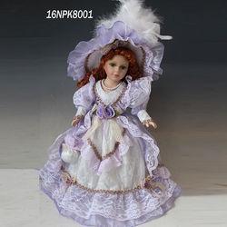 Fashion design home decoration 16inch christmas decoration dolls victoria porcelain dolls