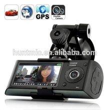 "2.7"" Hotsale X3000 R300 GPS Dual Camera Car On Dash cam Video black box dvr camcorder of 140 Degree+G-Sensor+Loop Recording"