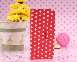 Wholesale Fashionable Dots Design Flip Wallet Leather Cover for iPhone 5 5S