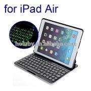 China Super-slim Air Kee F5S 7 Color Backlighting Flip PU+Aluminum Hard Wireless Backlit Bluetooth Keyboard Case for iPad Air