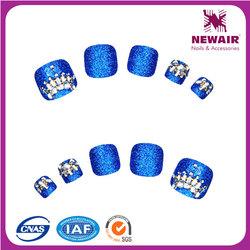 VIVINAIL Hot fashion dark blue designed glamour dazzling fake toe nail arts tips pedicure for fashion girl