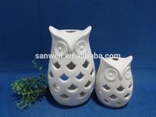 Wholesale ceramic cream owl ornaments