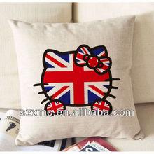 HOT SALE! fantastic image union jack cat face printed canvas cushion