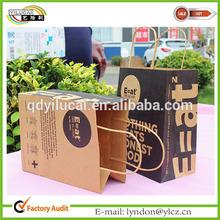 China brown reusable kraft paper tote bag with full printing