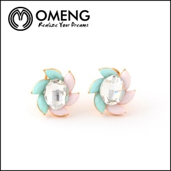 Colorful Windmill Shape Fresh Fruit Color Pink&Light Blue Big Water Glass Stud Earrings