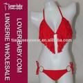 Generoso Fringe Tassel 100% Nylon Sheer adolescente transparente vermelho Sexy biquíni Swimwear