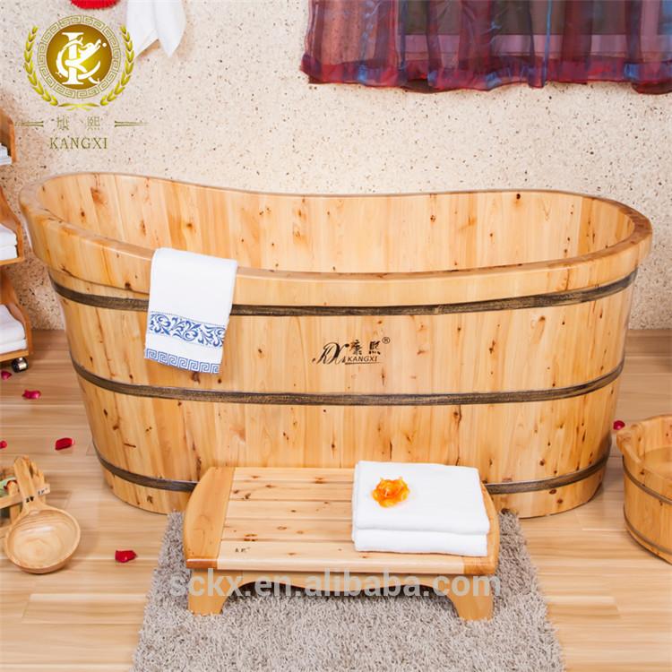 Qualit en bois troite baignoire japonais baignoire de massage baignoire a - Baignoire ronde en bois ...