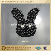 2014 cute rabbit design hem stone fabric flower shoe flower