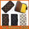 Deluxe Checker Pattern designer Flip Cover Leather Case Wallet for Apple iPhone 5 5G LV06