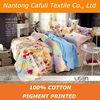 100% cotton twill pigment flower printing fabrics for bedding set