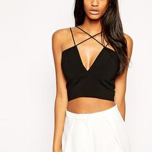 2014 fashion girls short tops with punge V-neckline black crop tops wholesale women
