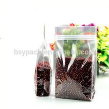 Transparent clear food bag / flat bottom 4 side gusset bag / clear stand up zipper bag