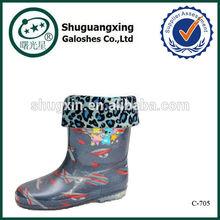 kids warm rain boots winter nude girl rubber rain boots winter/ C-705