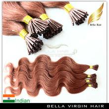 Glue keratin fusion hair extensions i tip wavy hair extension