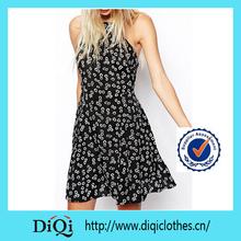 female spaghetti straped dress backless women polka dots dress made in guangzhou