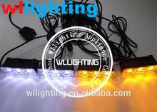 12V 12LED WHITE/AMBER EMERGENCY/HAZARD/WARNING STROBE LIGHTS KIT ON GRILLE/ROOF