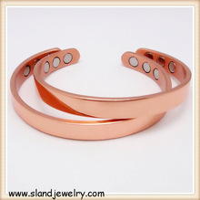 online wholesale handcrafted 8mm band style Hematite Powerful Neodymium magnetic copper bracelet for health benefit