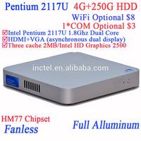 Ordinateur fanless with intel pentium 2117u HDMI VGA 4G RAM 250G HDD windows linux ultra thin 2mm slim design for XBMC openelec