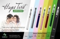 Hangsen (HAYES TWIST) no flame e cigarette refills with bottom dual coil tank, ego twist battery, various vaping experience