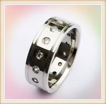 Alibaba China supplier wholesale shiny finish stainless steel stone men ring