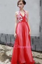 cheap red haltrer appliqued maxi dress wedding dress girls party dresses evening dress2014