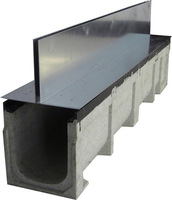 Linear Polymer sewage drainage trench/trough/ditch with serrated steel grid mesh