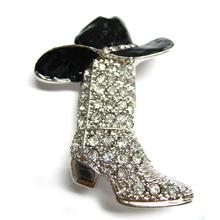 Wholesale Jewelry Black Hat Rhinestone Cowboy Boot Brooch Pin