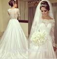 Mz-183 Best seller linda Designer vestido de noiva padrões árabe vestido de casamento gola alta manga comprida