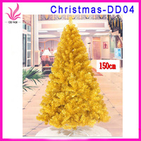 Cheap and fashion all sizes christmas decoration 150cm gold manufacturer christmas tree