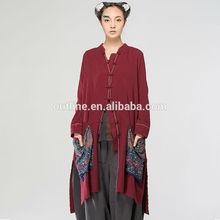 Jiqiuguer Original design ethnic new women's tunic wild loose mandarin collar bohemian tunic