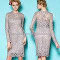 Dantel uzun kollu parti elbise/kadın dantel uzun kollu parti elbise