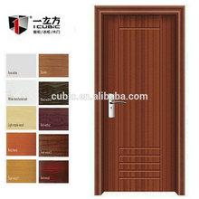 Pvc dormitorio simple diseño de la puerta del pvc de plástico de la puerta interior