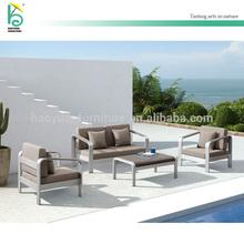 Aluminium frame furniture teak wood arm rest center table grey color cushion