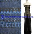 yüksek kalite jakarlı streç fildişi dantel siyah uzun elbise toptan