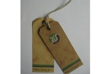Brown Kraft Cardboard Hang Tags with Bronze Eyelet and Hemp Rope