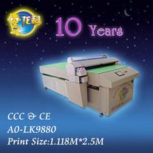 Uv stampante a0 pianale formato di stampa 1118* 2.500 lk9880 8 colori di alta qualità con alta risoluzione di grande formato di stampa in metallo